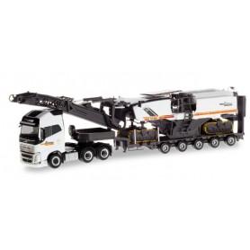 Herpa 310239 Volvo FH 16 Gl. XL low boy semitrailer with wirtgen 250i