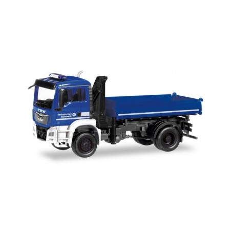 Herpa 310307 MAN TGS M 3-way discharge skip with crane 'Technical Relief of the rescue divers'