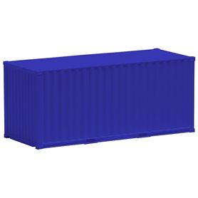 Container 20-fots, blå, omärkt, korrugerad