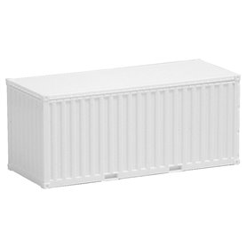 Container 20-fots, vit, omärkt, korrugerade sidor