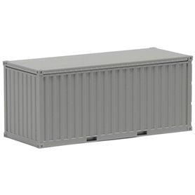 Container 20-fots, grå, omärkt, korrugerade sidor