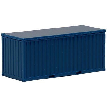 Container 20-fots, blå, omärkt, korrugerade sidor