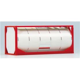 """Tankcontainer """"Van Hool"""" 20 fots, röd ram, vit tank med kromade ringar"""