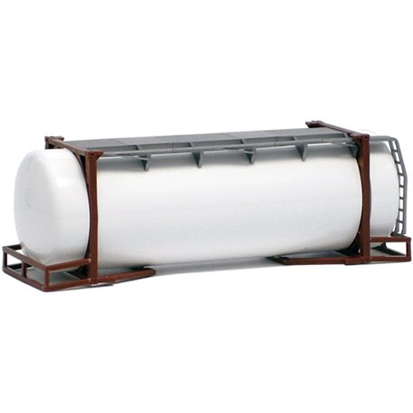 Herpa Exclusive 490081 Tankcontainer 26 fots, brun ram, vit tank (AWM)