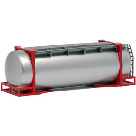 Tankcontainer 26 fots, röd ram, silver tank (AWM)