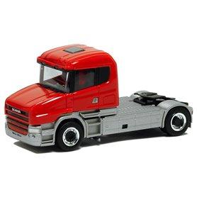 Herpa 580418 Dragbil Scania Hauber 124, 2-axlig, röd förarhytt, grått chassi