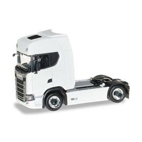 Herpa 580429 Dragbil Scania CS20, vit med kromade/svarta fälgar