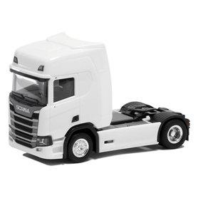 Herpa 580435 Dragbil Scania CR HD, 2-axlig, vit med svart chassie
