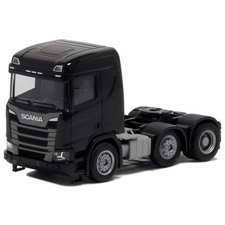 Herpa 580443 Dragbil Scania CR 20, 3-axlig, svart