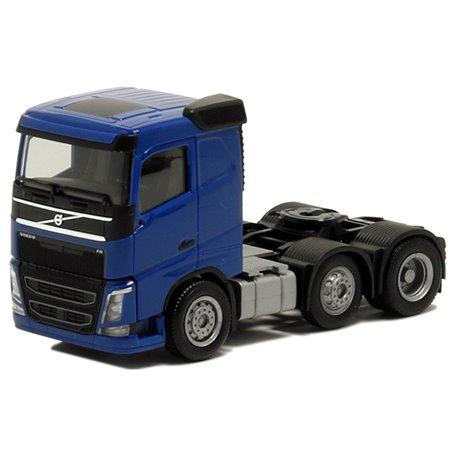 Herpa 590709 Dragbil Volvo FH Plattak, 3-axlig, blå