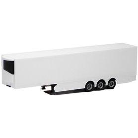 Herpa 630562 Kyltrailer Medi Euro, 3-axlig, vit med svart chassie