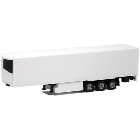 Herpa 630566 Kyltrailer Medi Euro, 3-axlig, vit med svart chassie