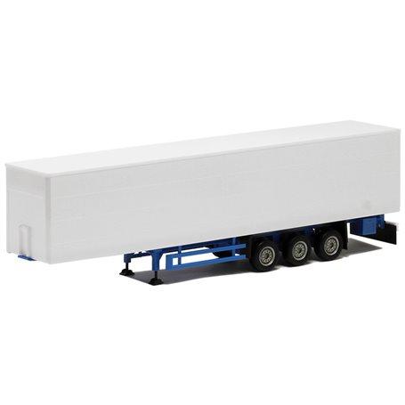 Herpa 640369 Gardintrailer Medi, 3-axlig vit med blått chassie