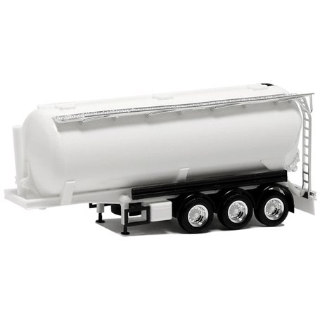 Herpa 650029 Silotrailer 42 cbm, 3-axlig, vit med svart chassie och kromdetaljer