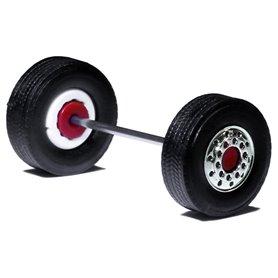 Däck/hjulaxel, framaxel/stödaxel , 1 st, krom/röd