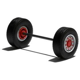 Däck/hjulaxel, framaxel/stödaxel, 1 st, silver/röd