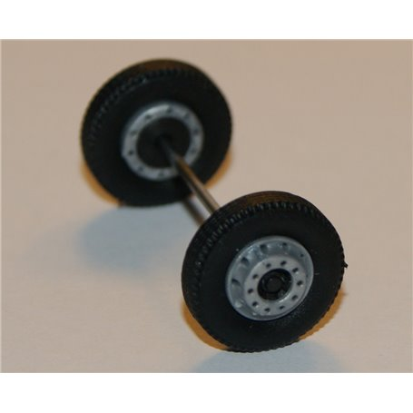 Däck/hjulaxel, framaxel, 1 st, silver/svart