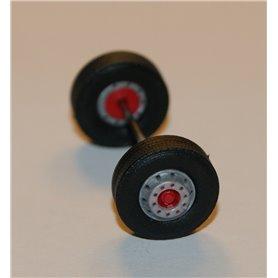 Däck/hjulaxel, framaxel, 1 st, silver/röd