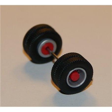 Däck/hjulaxel, drivaxel, 1 st, silver/röd