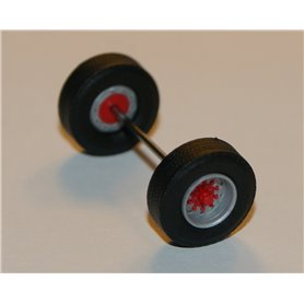 Däck/hjulaxel, traileraxel, 1 st, silver/röd