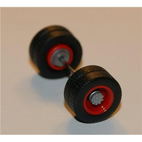 Däck/hjulaxel, drivaxel, 1 st, röd/silver