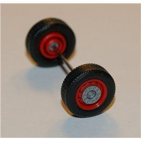 Däck/hjulaxel, framaxel/stödaxel, 1 st, röd/silver