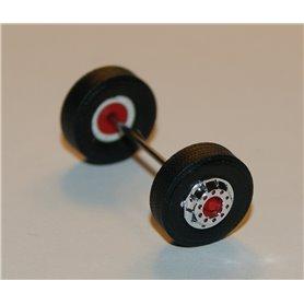 Däck/hjulaxel, framaxel, 1 st, krom/röd