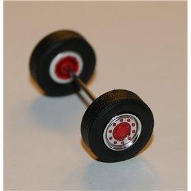 Däck/hjulaxel, traileraxel, 1 st, krom/röd