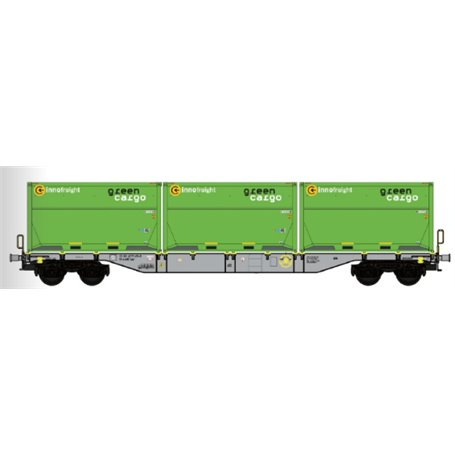 """B Models 90803.1 Containervagn Sgns D-AAEC med last av containers """"Green Cargo"""""""
