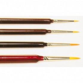 Springer Pinsel 3330.4-0 Pensel Toray, trekantsskaft, storlek 4|0, rund, Toray syntethår, guld
