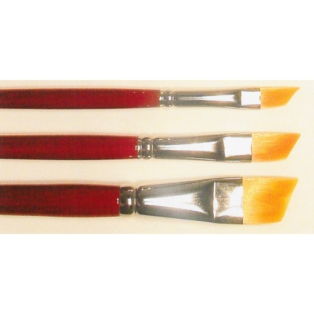 Springer Pinsel 2057.10 Pensel Toray, storlek 10, flat diagonal, Toray syntethår, guld