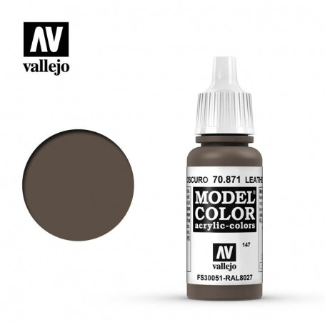 Vallejo 70871 Model Color 871 Leather Brown (147) 17ml