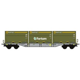 "B Models 90802.1AC Flakvagn Sgns D-AAE med last av 3 containers ""Fortum XXXL"""