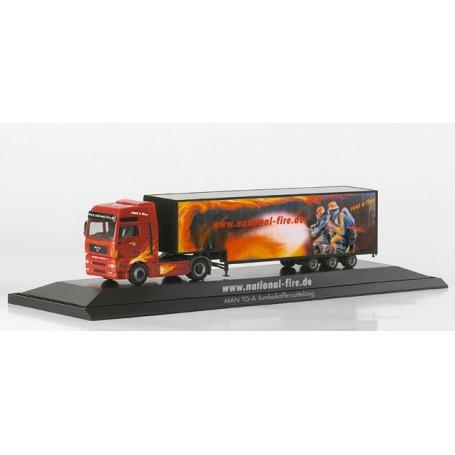 "Herpa 120418 MAN TGA XXL Jumbo box semitrailer ""National Fire"", PC"