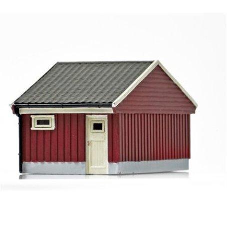 NMJ 15118 Norskt garage, röd/vit, färdigmodell