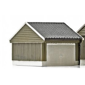 NMJ 15119 Norskt garage, grå/vit, färdigmodell