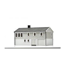 NMJ 15123 Norsk Enebolig med underetasje, grå/vit, färdigmodell