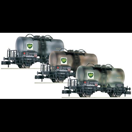 """Fleischmann 841201 Vagnsset med 3 tankvagnar typ DB """"BP"""""""