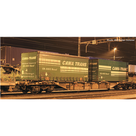 "Roco 76949 Flakvagn med last av containers SBB ""Cawa Trans"""