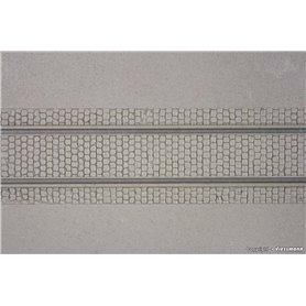 Kibri 34125 Vägplatta med rälsspår, plast, mått 20 x 12 cm