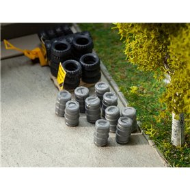 Faller 180971 10 Aluminium beer barrels