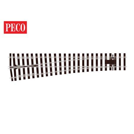 """Peco SL-E792BH Växel """"Bullhead"""", vänster, medium, radie 1828 mm, vinkel 8°, längd 416 mm"""