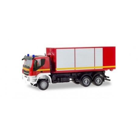 Herpa 094610 Iveco Trakker swap-body truck ?fire Brigade?