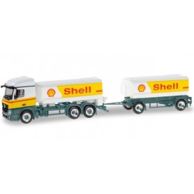 "Herpa 310437 Mercedes-Benz Actros StreamSpace Shell fuel tank semitrailer ""Shell"""
