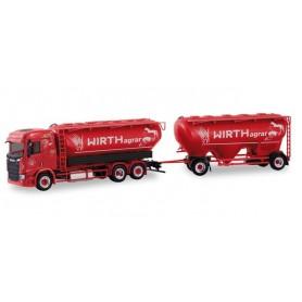 "Herpa 310468 Scania CR low-roof bulk silo semitrailer ""Wirth Agrar"""