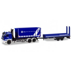 "Herpa 310482 Mercedes-Benz SK '94 swap-body truck with crane and low-bed trailer ""THW Munich Region"""
