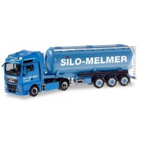 "Herpa 310574 MAN TGX XXL Euro 6c silo semitrailer ""Silo Melmer| Kletterstadl"" (A)"
