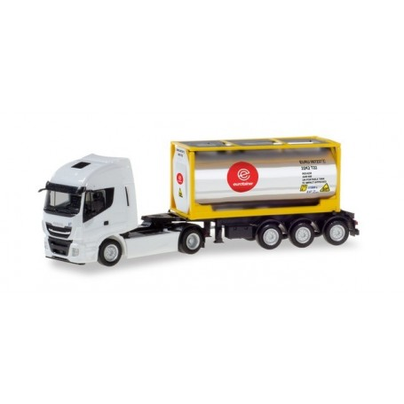 Herpa 310604 Iveco Stralis XP chrome tank container semitrailer ?Eurotainer?