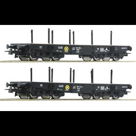 Roco 76080 Vagnsset med 2 tungtransportvagnar Rlmmp typ DB