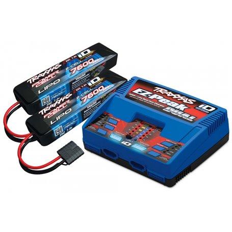 Traxxas 2991GX Laddare EX-Peak Dual 8A och 2 x 2S 7600mAh Batteri Combo